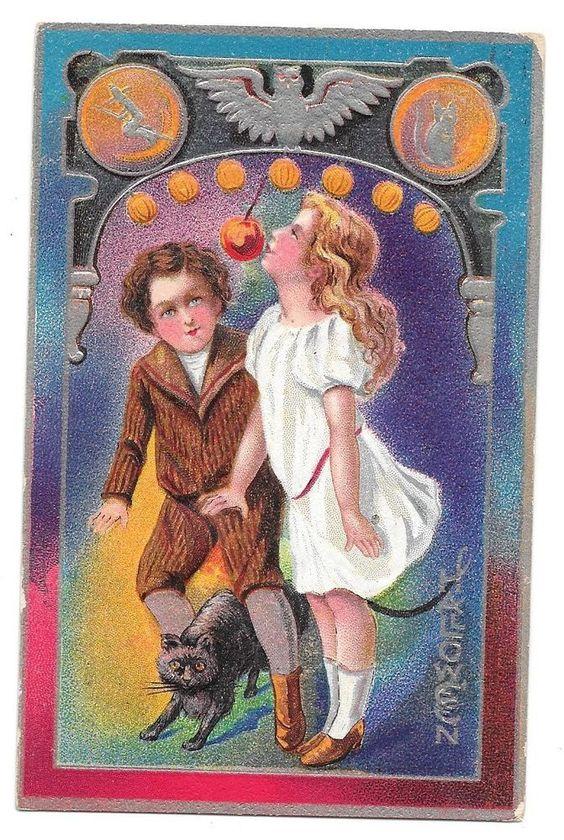 Vtg Postcard Halloween Girl in white dress trying to bite an apple boy watching #Halloween