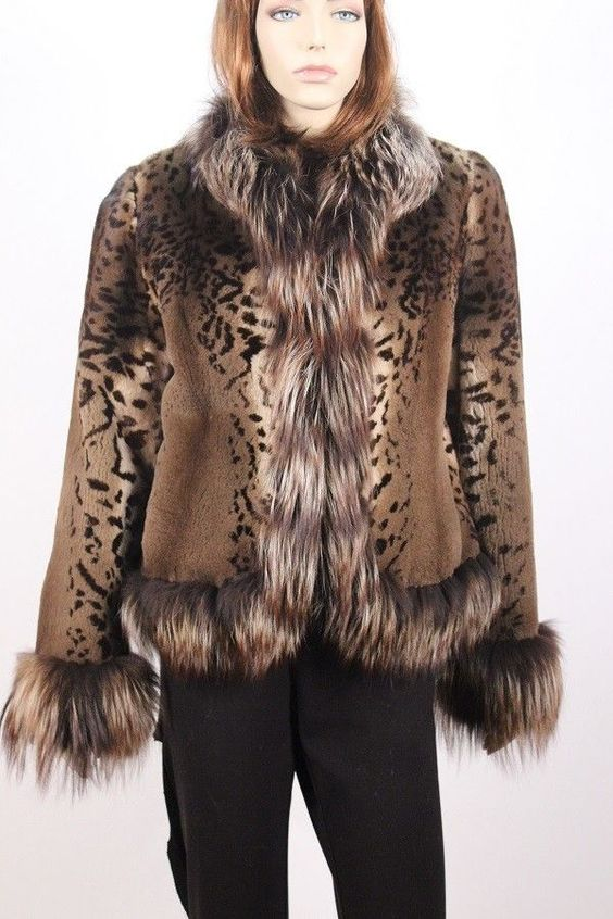#10939 New Women's Leopard Print Sheared Mink Fur Jacket Coat w Fox Size 6 Small #Unbranded #BasicJacket
