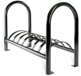 Model BK-4:  Tubular Steel Bike Rack. Shown with standard surface mount.
