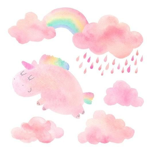 Pink Clouds Watercolor Unicorn Wall Decal Sticker Set Watercolor Clouds Pink Watercolor Unicorn Wall Decal