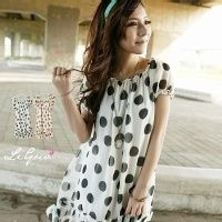 Surplus beautiful short-sleeved dress . White black apricot coffee