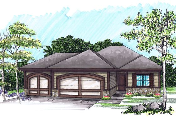 Ranch Style House Plan 2 Beds 2 Baths 1367 Sq Ft Plan 70 1020 One Level Homes Beach Style House Plans Ranch Style House Plans