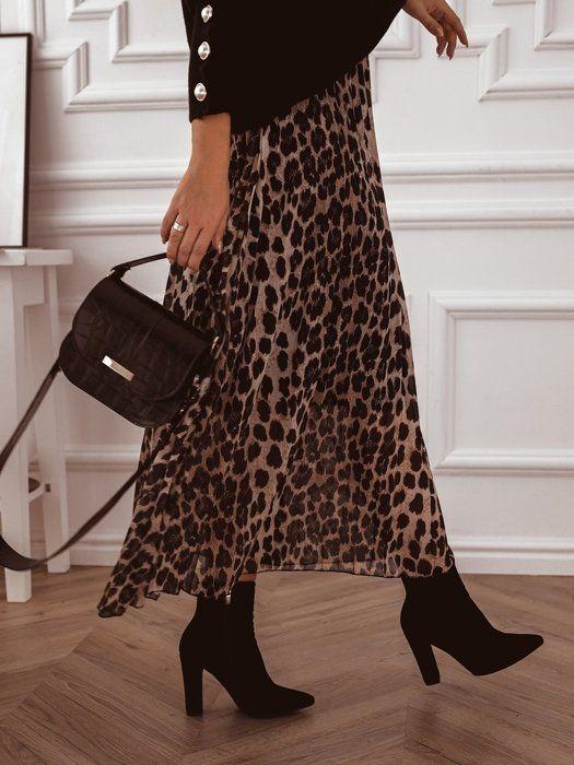 Jesienna Spodnica Midi W Panterke Midi Skirt Skirts Fashion