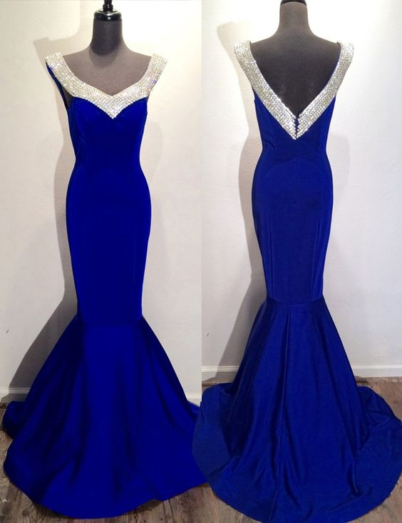 Mermaid Prom Gown,Royal Blue Prom Dresses,Royal Blue Evening Gowns,Beaded Party…