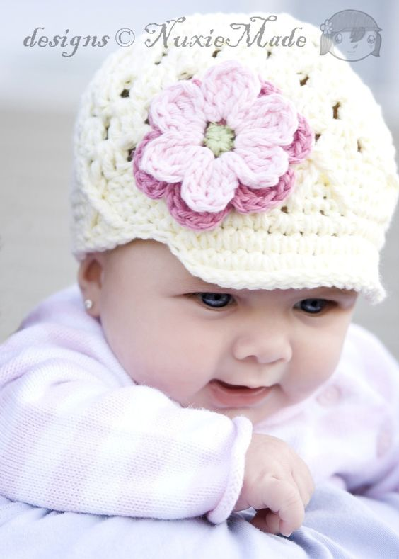 Flower Beanie with Brim -ivory, rose, pink, celery. $27.00, via Etsy.