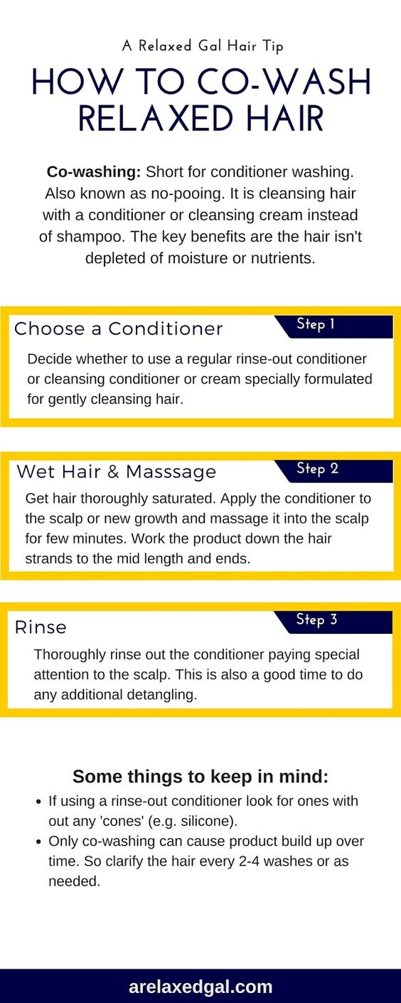 Co-washing can be beneficial for relaxed hair. It's also simple to do. This infographic outlines the three easy steps for co-washing.   arelaxedgal.com