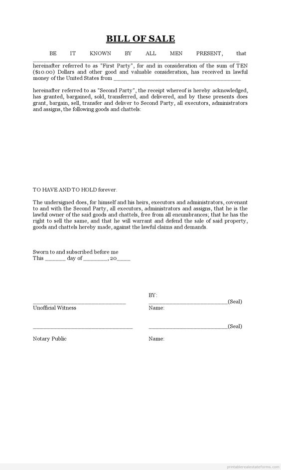 Printable Sample bill of sale Form – Bill of Sale for Land
