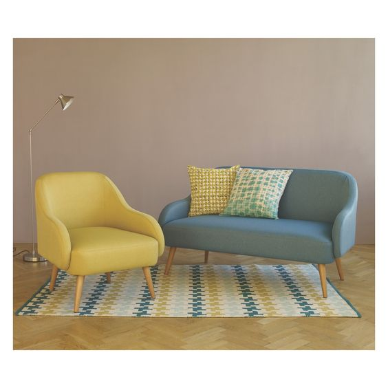 MOMO Yellow textured woven fabric armchair | Buy now at Habitat UK