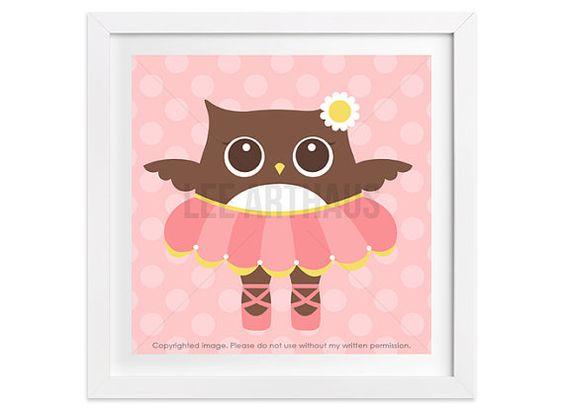 199 Girl Wall Art  Ballerina Owl Wall Art  Woodland by leearthaus