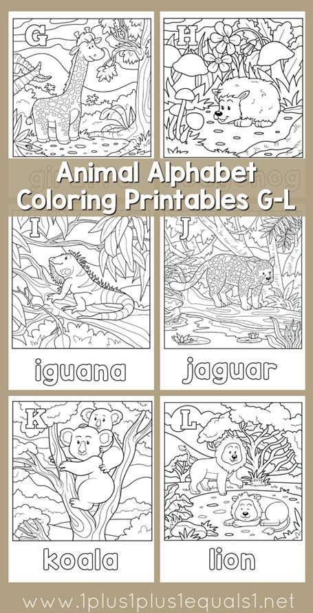 Easter Alphabet Coloring Pages : Animal alphabet coloring pages letters g l