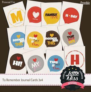 Little Miss Carolina Schönauer: {FREBIE} To Remember Journal cards 3x4