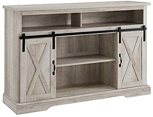 Amazing Offer On Bowery Hill Modern Farmhouse Sliding Barn Door Wood 52 Highboy Tv Stand Console Storage Cabinet Rustic White Oak Online In 2020 Tv Stand Highboy Tv Stand White Oak