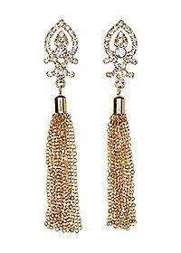 Chain Tassel Rhinestone Drop Earrings