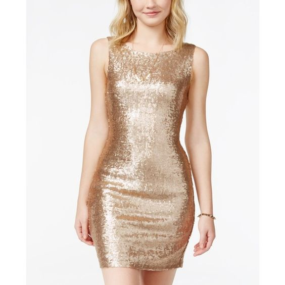 Crystal Doll Juniors&-39- Sequin Bodycon Tank Dress ($48) ❤ liked on ...