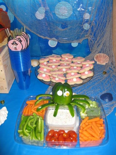 Mermaids and Pirates party: green pepper octopus and oyster cookies! www.cindyscreativecuts.com