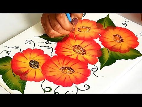 How To Make Easy Beautiful Floral Painting Design On Fabric