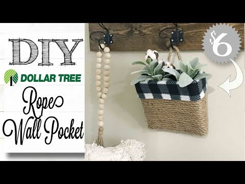 530 Diy Dollar Tree Farmhouse Decor Wall Pocket Youtube Dollar Tree Diy Dollar Tree Dollar Store Diy
