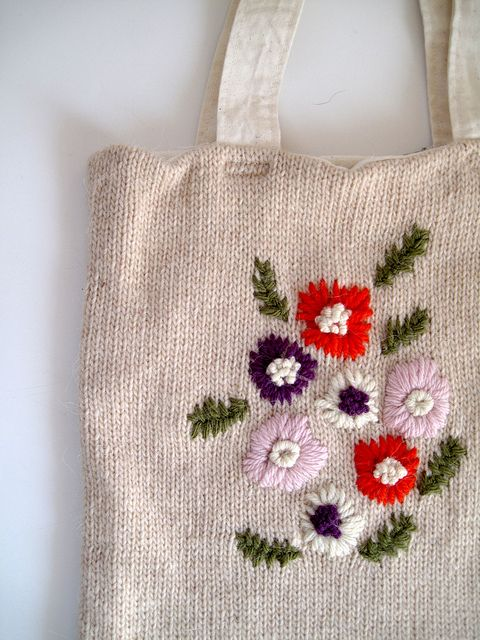 Embroidered knit tote bag