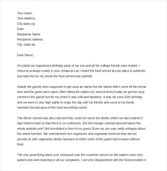 And Hotel Complaint Letter Templates Free Sample Example Format