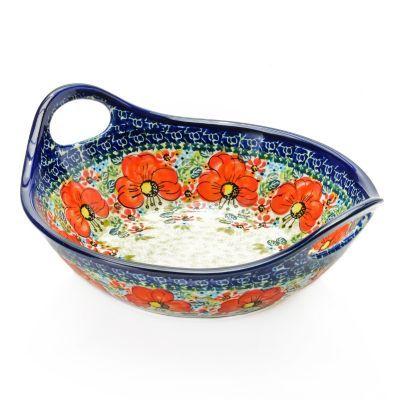 "Polish Stoneware Choice of Pattern 9.75"" Handmade & Hand-Painted Handled Bowl"