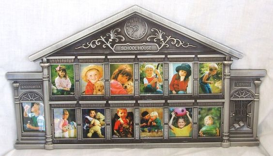 PHOTO FRAME 12 Year SCHOOL HOUSE Metal K-12 Grades Pictures HOLDS ...