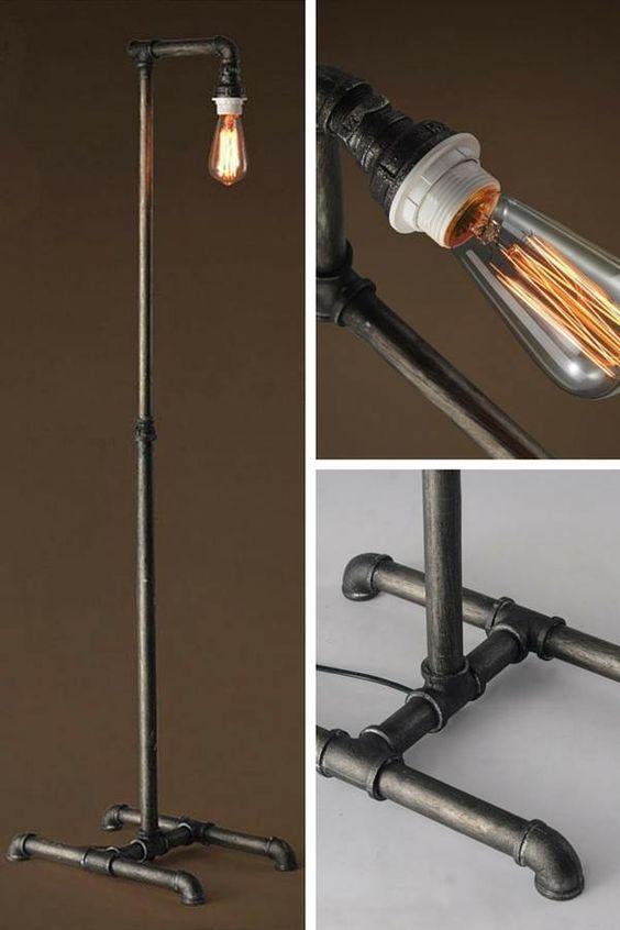 Lampadaire industriel rétro en fer forgé  http://www.homelisty.com/lampadaire-industriel/