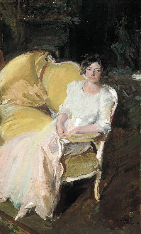 Joaquin Sorolla Y Bastida Clotilde Seated On A Sofa 1910 Painting Art Artist