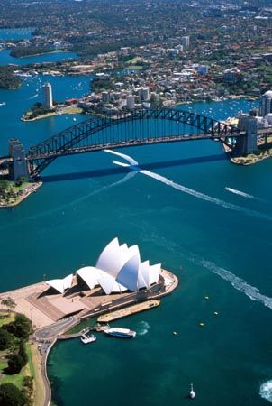 Aerial View of Sydney Opera House and Sydney Harbour Bridge, Australia