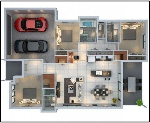 75 Modern And Newest 3 Bedroom 3d 3 Bedroom Plans Minimalist House Design Home Design Plans House Plans