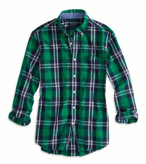 AEO Factory Printed Button Down Shirt (Green)