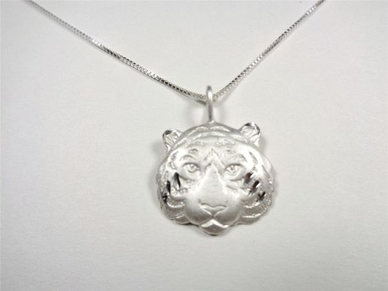 STERLING SILVER MAUI STRIPED TIGER HEAD WILD CAT ANIMAL PENDANT NECKLACE #Pendant