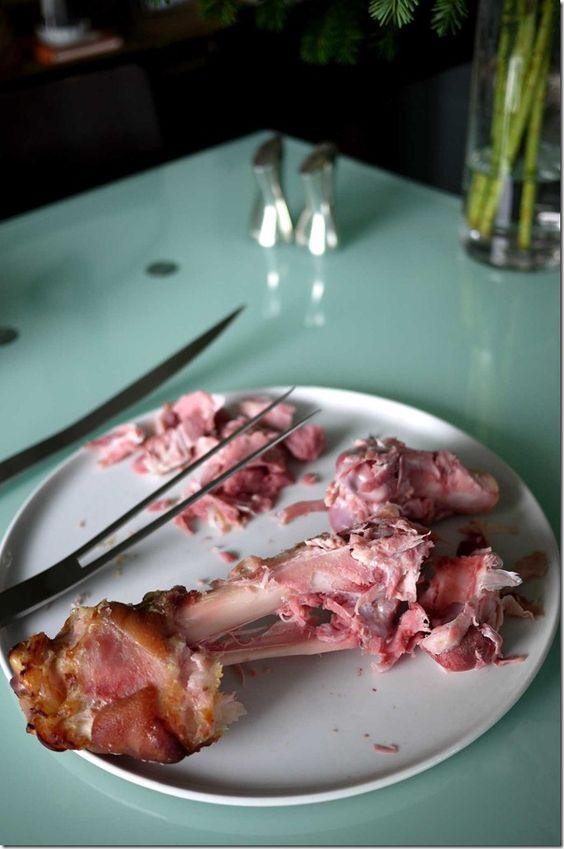 Leftover Christmas leg of ham bones - perfect for making a hearty pea and ham soup