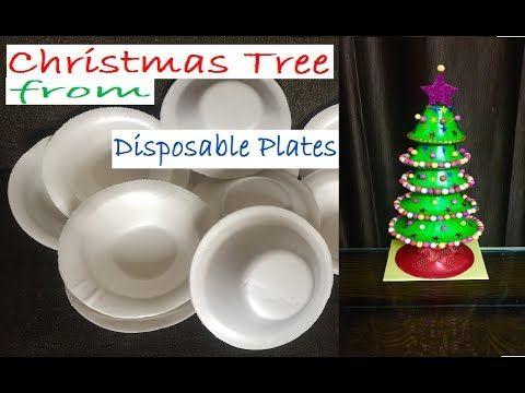 Make A Christmas Tree From Disposable Plates Plastic Plates Reuse Diy Xmas Decoration Craft From Waste Material Simple Christmas Decor Xmas Decorations Diy