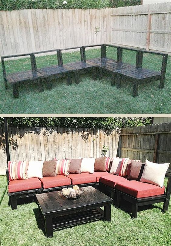 Diy Pallet Terrace Furniture Outdoor Pallet Sectional