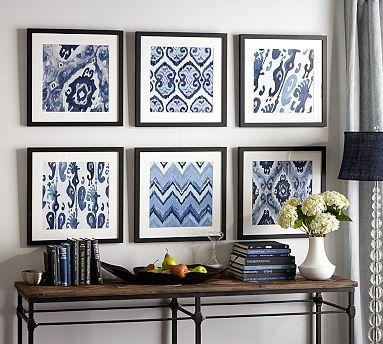 Framed Ikat Prints #potterybarn.  Me gusta la combinación de colores, azul beige/gris, café obscuro, blanco:
