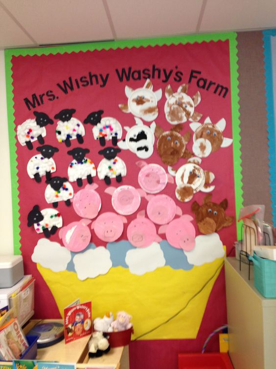 Mrs. Wishy Washy expansion: What might happens to sheep when they leave the farm? They get covered in paint in the hardware store.  Add colorful pompoms to paper plate sheep.