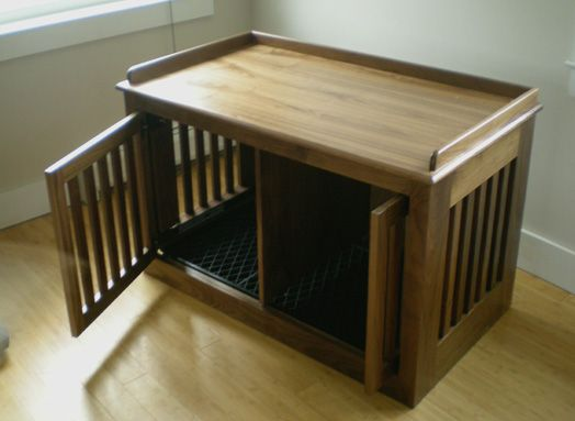 customized dog crate that is a lovely piece of furniture love the slide away pocket doors this would be nice in the living room or as a night stand furniture style dog crates