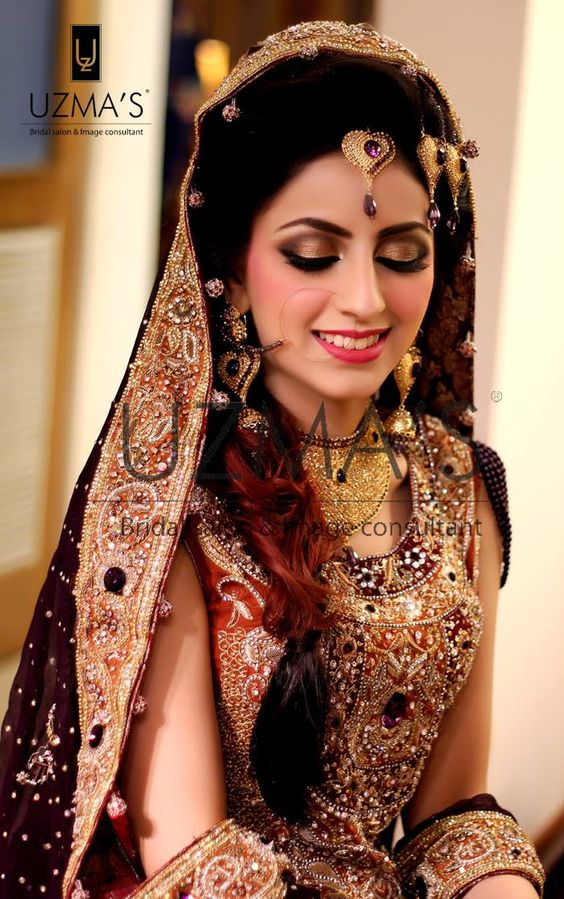 Stunning Walima bride flaunting our Signature line makeup. Gold smokey eyes with a tinted pink lipcolor Makeup by uzma's beauty salon