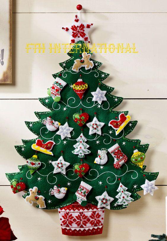 Árbol de Navidad en paño lency para pegar en la pared: