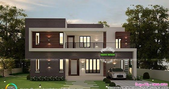 4 Bedroom Flat Roof Contemporary 2300 Sq Ft Flat Roof House Duplex House Design Flat Roof House Designs
