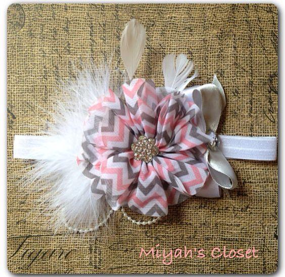 Chevron Pink Gray Feather Headband Tea Party by MiyahsCloset, $14.99