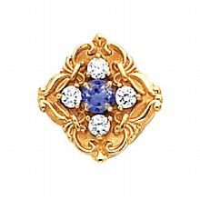 14K Gold Diamond and Tanzanite Victorian Bracelet Slide 81011 :: Tanzanite Slides :: Slide Bracelets :: Generous Gems