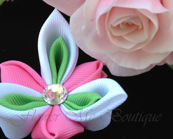 Kanzashi Spring Bow White and Pink Flower by FlowerMeBoutique, $12.00