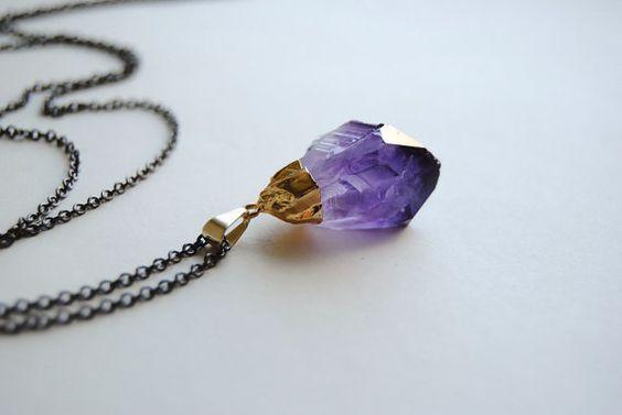 Amethyst Crystal Necklace  Gold Dipped Raw Crystal  by SPARKLEFARM, $35.00