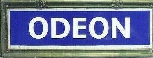 Vintage metal plates station metro paris odeon 40 x 15 cm
