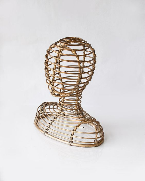 Vintage wicker mannequin head or hat stand--looks like it was painted awhile back with a metallic gold(remnants of silver paint underneath that too).