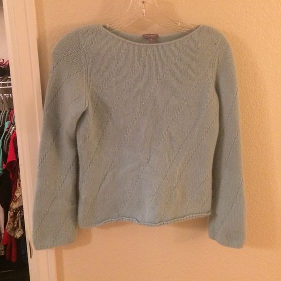 Ann Taylor Petite Cashmere Sweater Light blue petite cashmere sweater from Ann Taylor. Very soft. Could also fit a regular Xs. Ann Taylor Sweaters