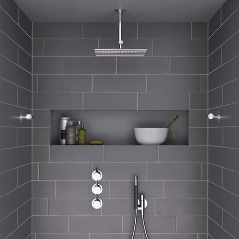 Modern shower with dark grey tiles and niche this looks for Bathroom looks