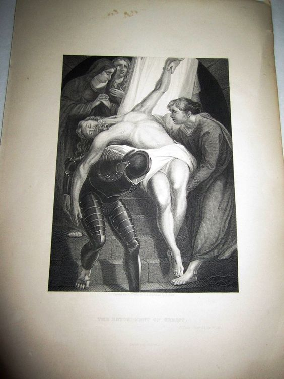 "1800's The Entombment of Christ Religious Steel Engraving Antique 8 1/4"" x 6 1/8 #Vintage"