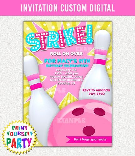 Bowling Banquet Centerpiece Ideas : Bowling invitation party printable
